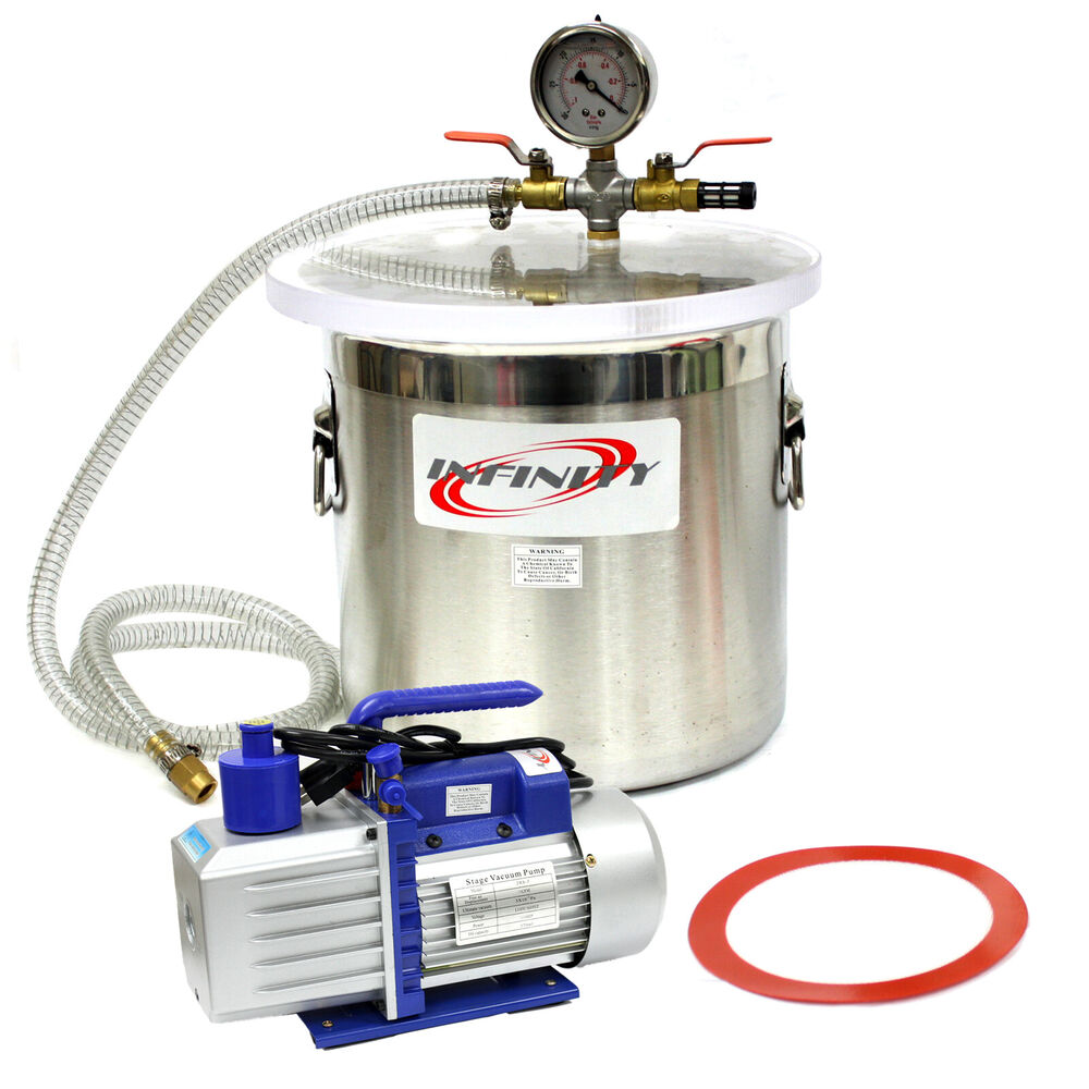 3 Gallon Vacuum Chamber and 2.5CFM Single Stage Pump to ...