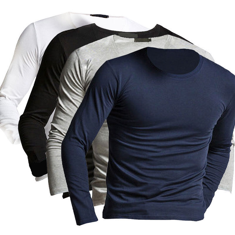 Fashion winter men 39 s slim fit long sleeve pullover t for Mens pullover shirts short sleeve