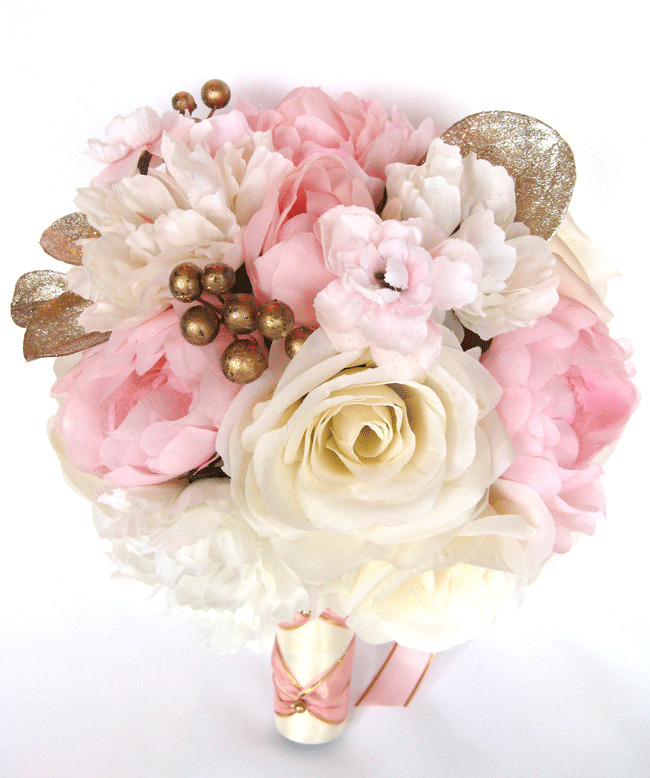 17 piece wedding bouquet silk flower bridal light pink rose gold blush package ebay - Flowers good luck bridal bouquet ...
