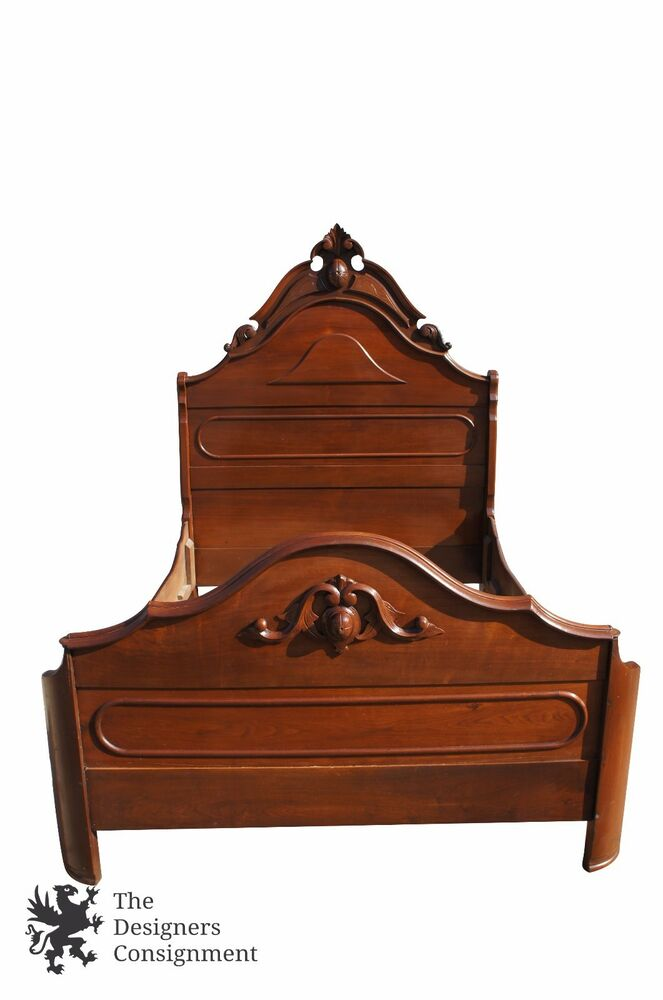 Antique victorian eastlake walnut carved full size double