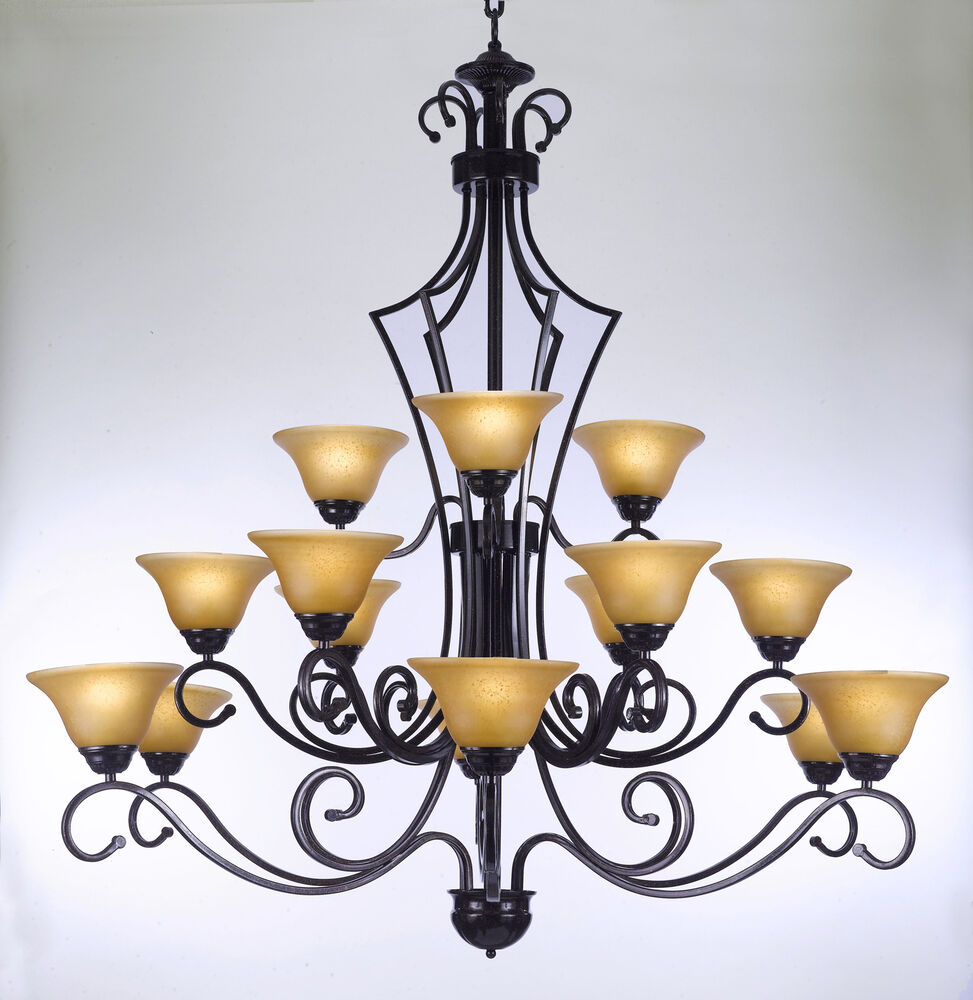 Large Lantern Chandelier Foyer : Light large wrought iron glass shades chandelier foyer