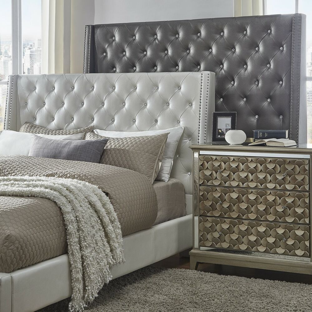 Aurora Faux Leather Crystal Tufted Nailhead Wingback ...