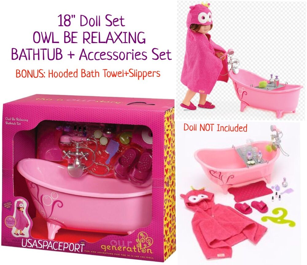 Pink Bath Tub Owl Hooded Towel Set Fits 18 Quot American