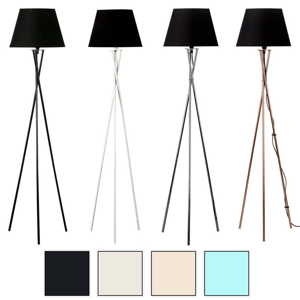 Camden tripod floor lamp black white chrome copper for Tripod floor lamp silver base white shade