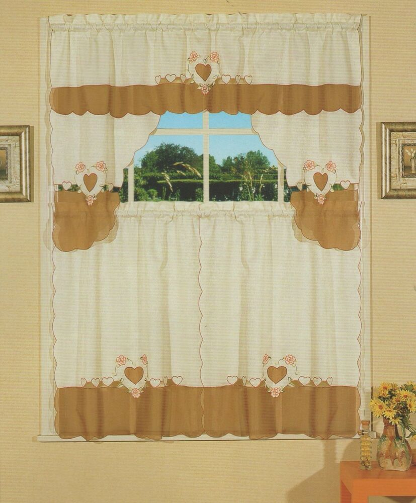 Embroidered Jacquard & Voile, Tier & Swag, 3 Pieces