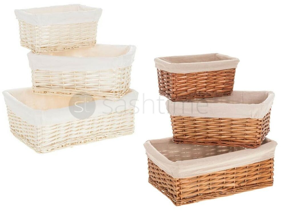 wicker willow storage basket hamper with lining in small. Black Bedroom Furniture Sets. Home Design Ideas