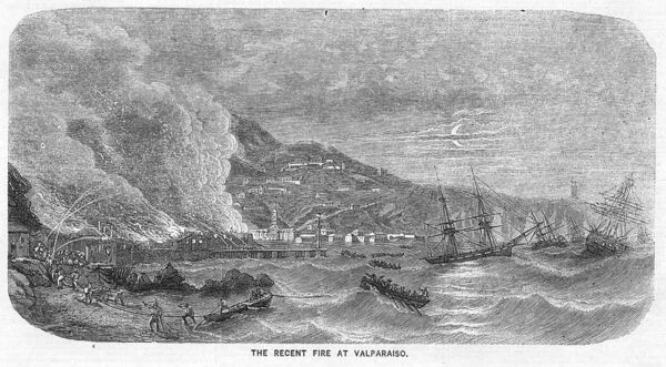 CHILE The Recent Fire at Valparaiso - Antique Print 1859