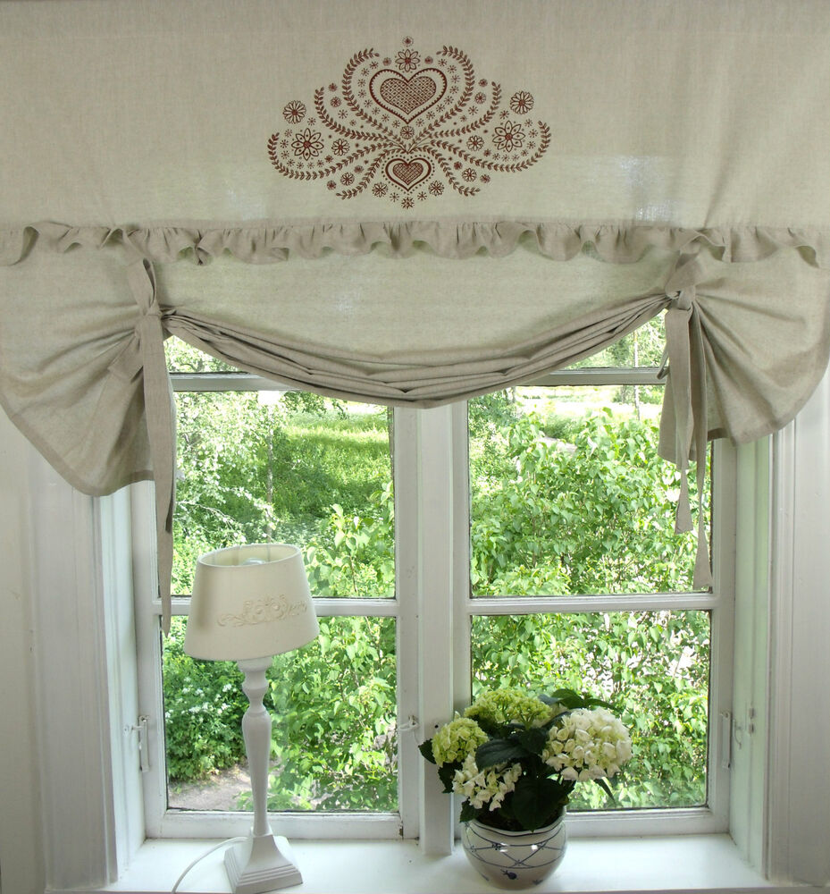 raff gardine herzig sand rot raffrollo 100x100 shabby chic vintage curtain 4251144403899 ebay. Black Bedroom Furniture Sets. Home Design Ideas