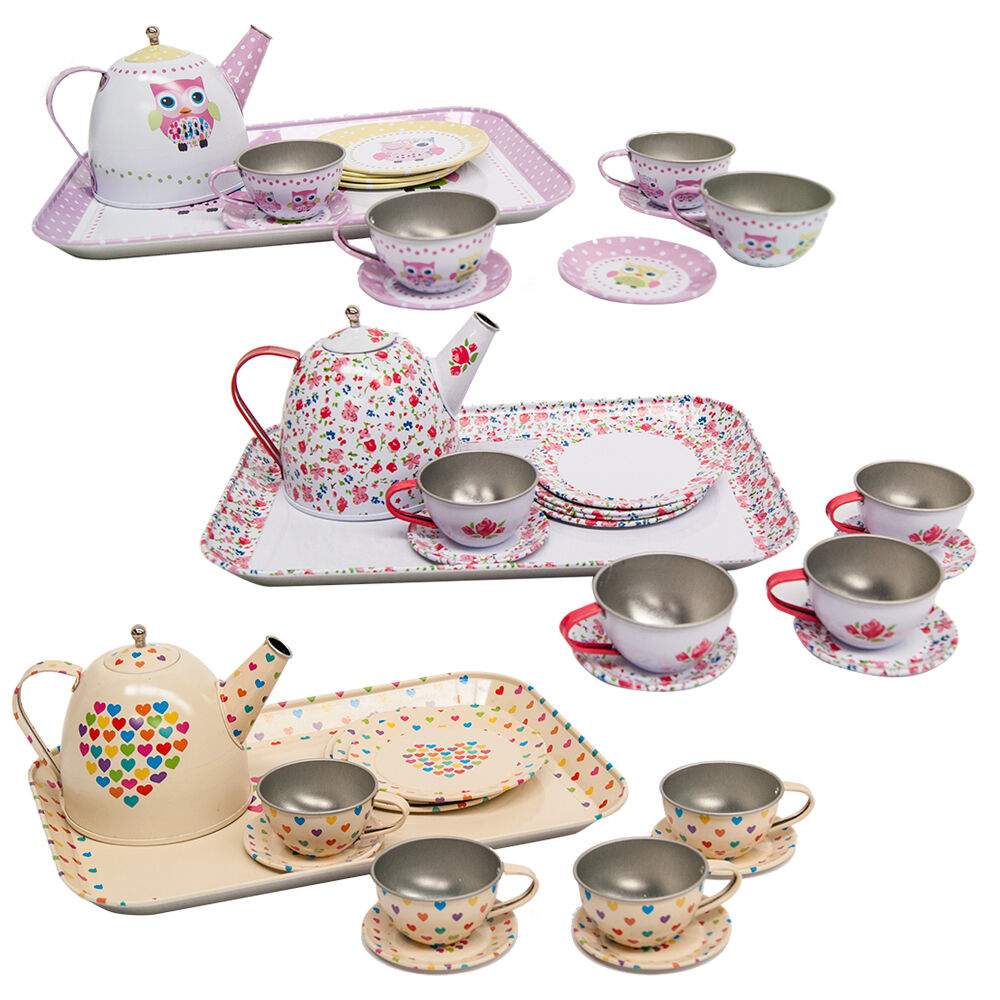 Toy Tea Sets For Boys : Girls kids vintage tin tea set role play toy teapot cups