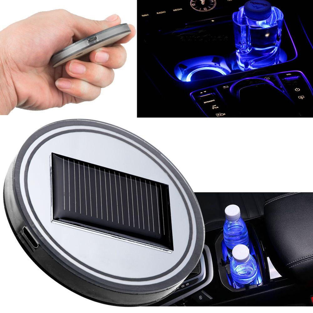 solar led light energy save cup holder bottom pad cover universal auto car decor ebay. Black Bedroom Furniture Sets. Home Design Ideas