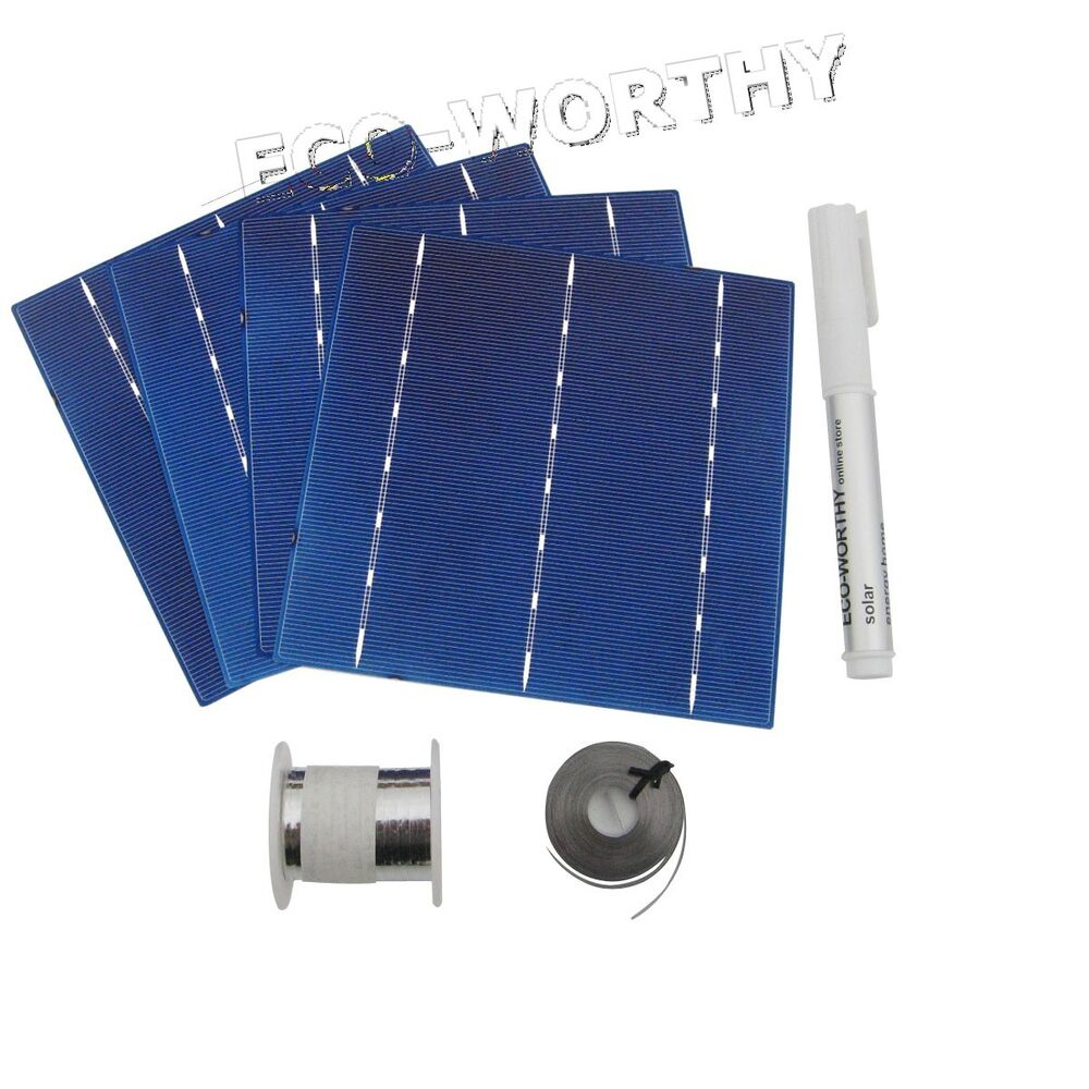 diy 100w solar panel 25pcs 6x6 solar cells kit w tab bus. Black Bedroom Furniture Sets. Home Design Ideas