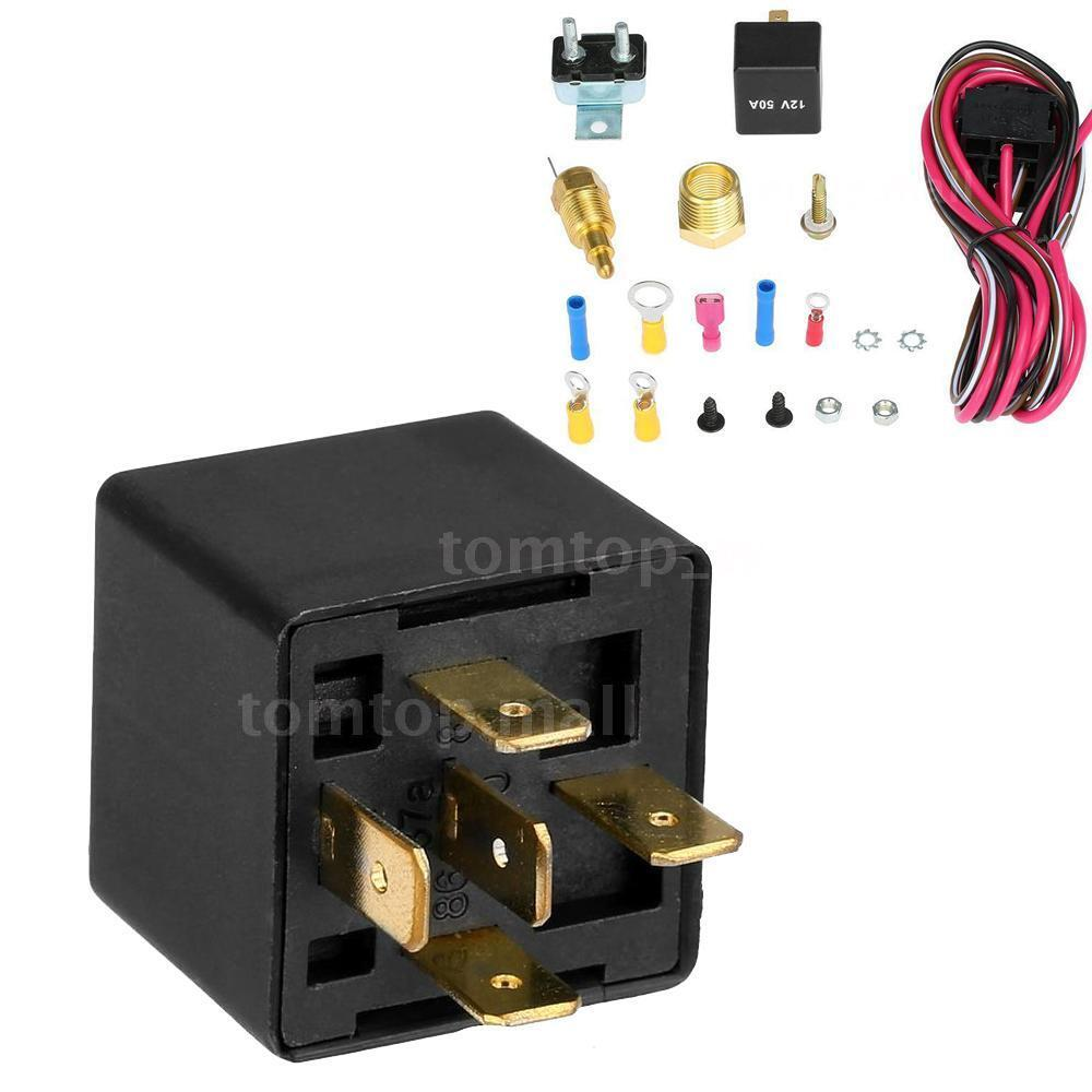 200 185 degree electric cooling fan wiring install relay kit thermostat new m5u5 ebay - Four 200 degres thermostat ...