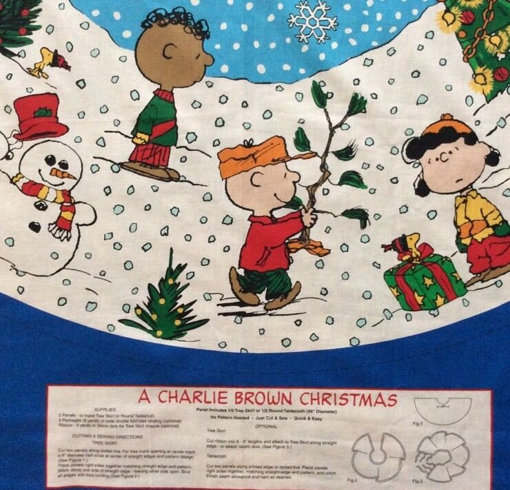 Peanut Christmas Tree: Charlie Brown Christmas Tree Skirt Fabric Panels Peanuts