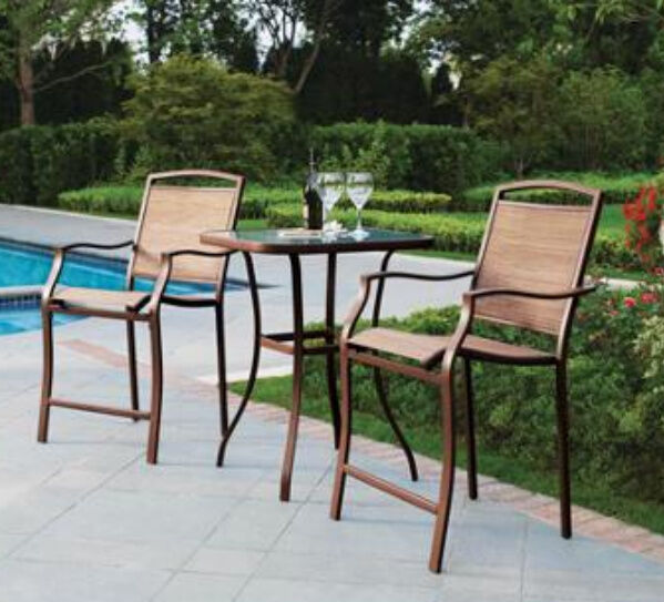 Bar height high chair bistro table set 3 piece outdoor for Bar height patio furniture