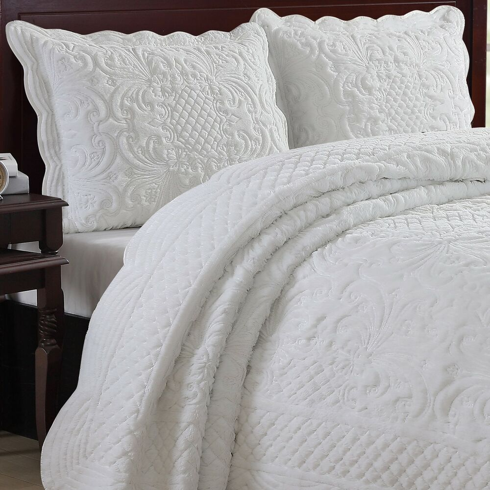 Estate Luxury Faux Fur Carved Scalloped Edged Quilt Set Ebay
