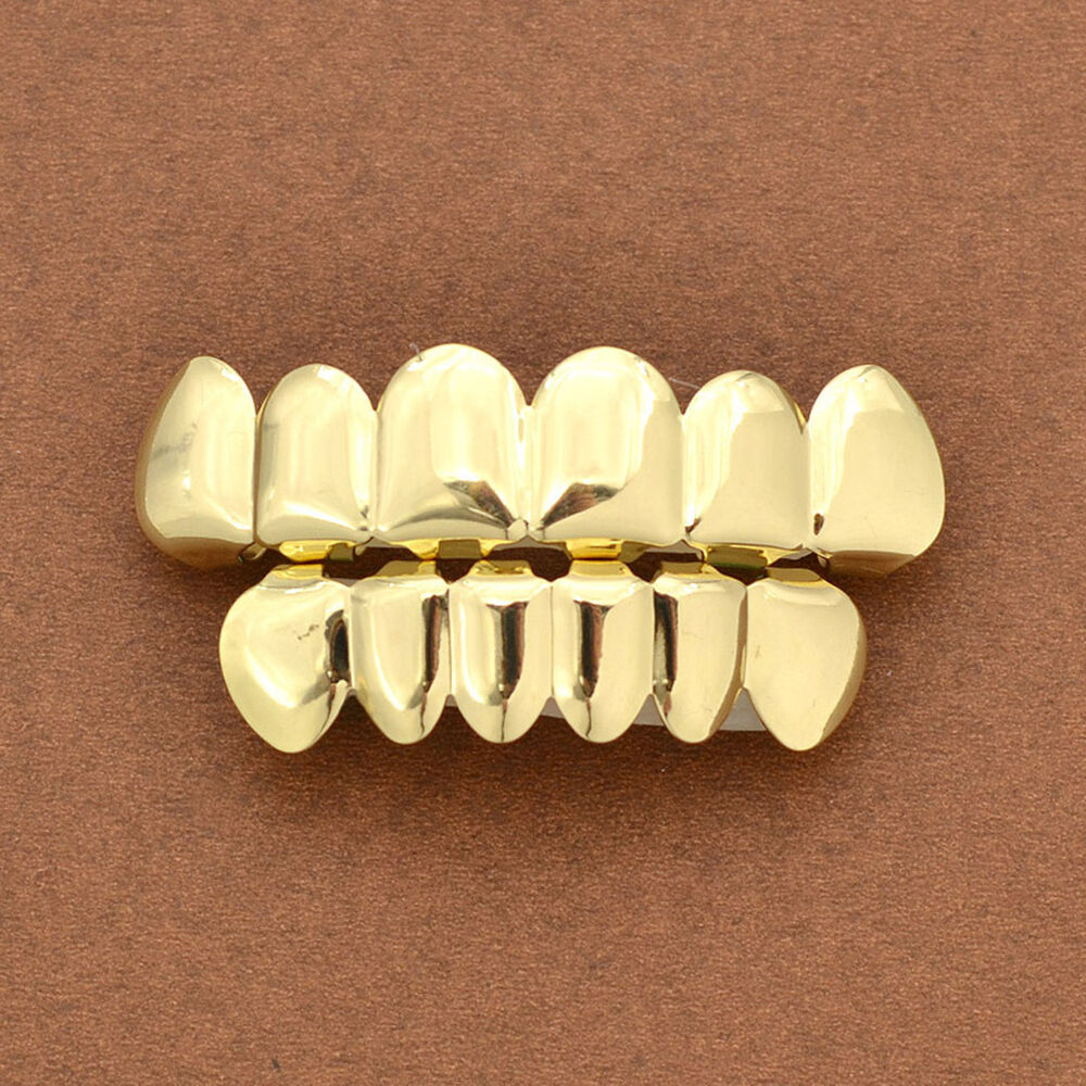 1 Set Gold Plated Hip Hop Teeth Grillz Top Amp Bottom Grill