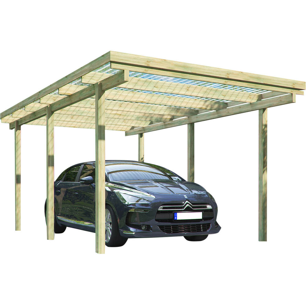 carport elbe 1 einzelcarport 3 04 x 5 10 m flachdach garage unterstand holz ebay. Black Bedroom Furniture Sets. Home Design Ideas