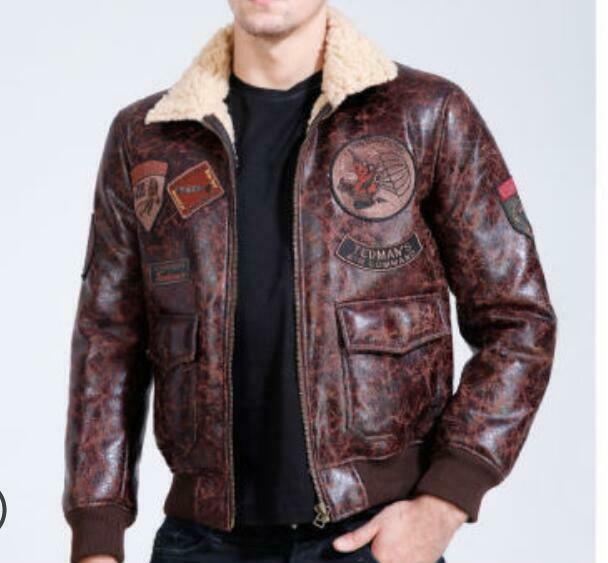 vintage mens leather lambs fur fleece bomber flight winter. Black Bedroom Furniture Sets. Home Design Ideas