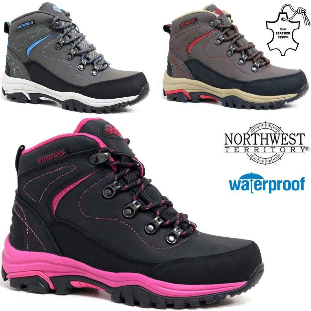 Ladies Womens Leather Walking Hiking Waterproof Ankle