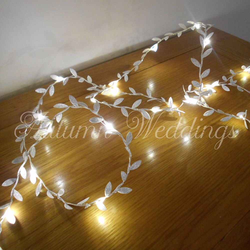 Philips Garland Led String Lights : Silver Leaves Wire LED Fairy String Lights Battery Garland Wedding Decorations eBay