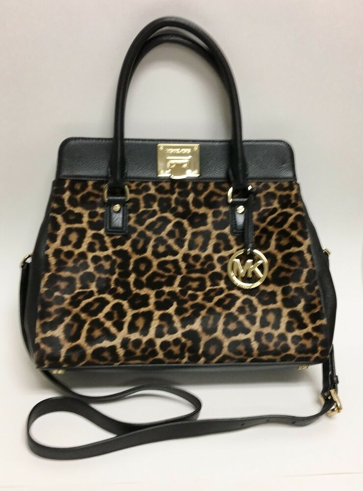 b6d7d75e30da Details about NEW MICHAEL KORS ASTRID BLACK LEATHER+LEOPARD PRINT CALF HAIR  TOTE,CROSSBODY
