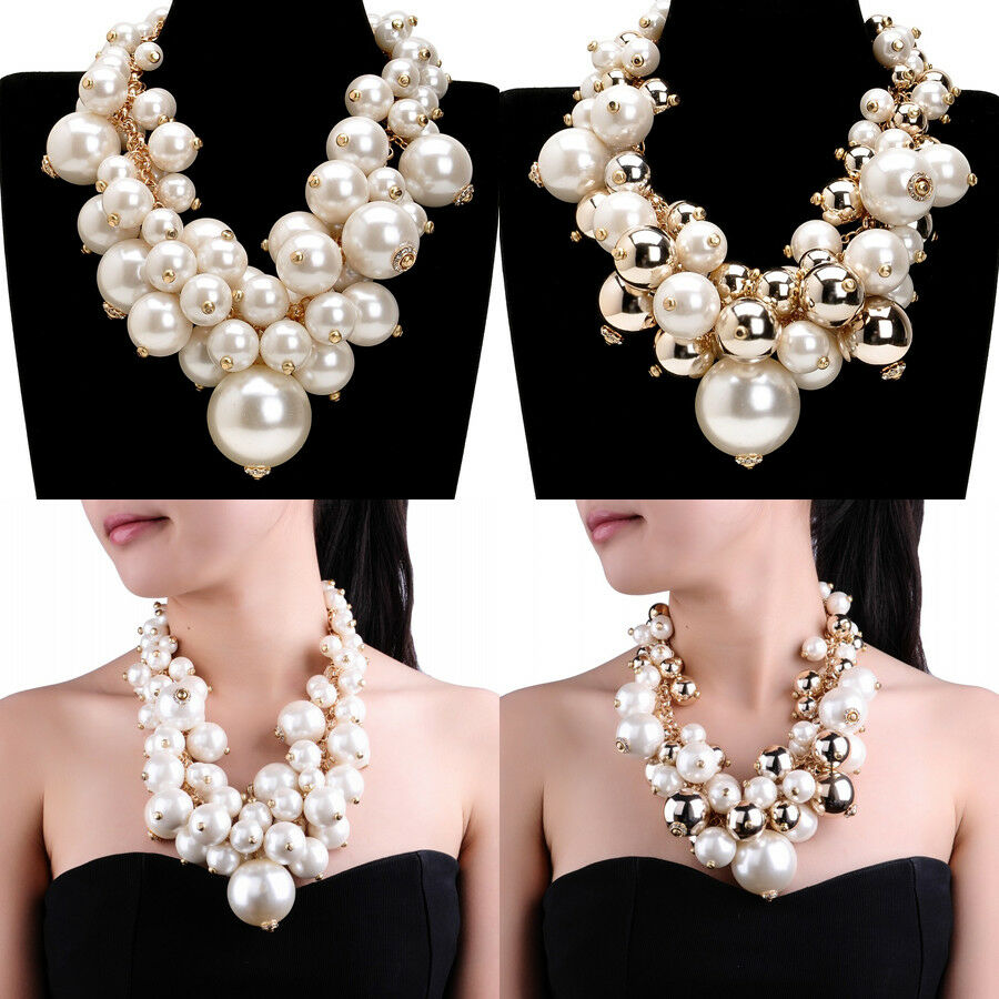 fashion gold chain big resin pearl cluster chunky choker. Black Bedroom Furniture Sets. Home Design Ideas
