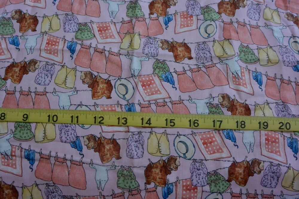 Beatrix potter twiggy winkle clothes line pink cotton for Children s clothing fabric by the yard