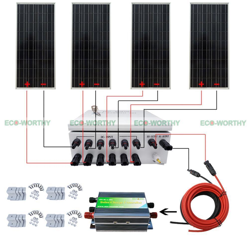 400w 4x 100w 12v Solar Panel Amp 10a Breakers Combiner Box