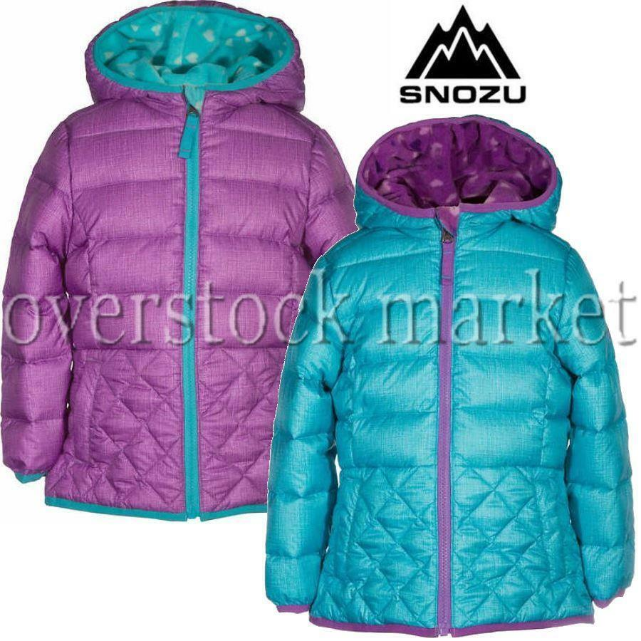 41778112d Details about NEW GIRLS SNOZU FLEECE LINED DOWN JACKET! ULTRA CLEAN DOWN  WINTER COAT! VARIETY!