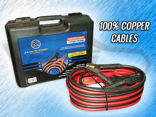 Heavy Duty 1 Gauge 25 Foot Booster Jumper Battery Cables
