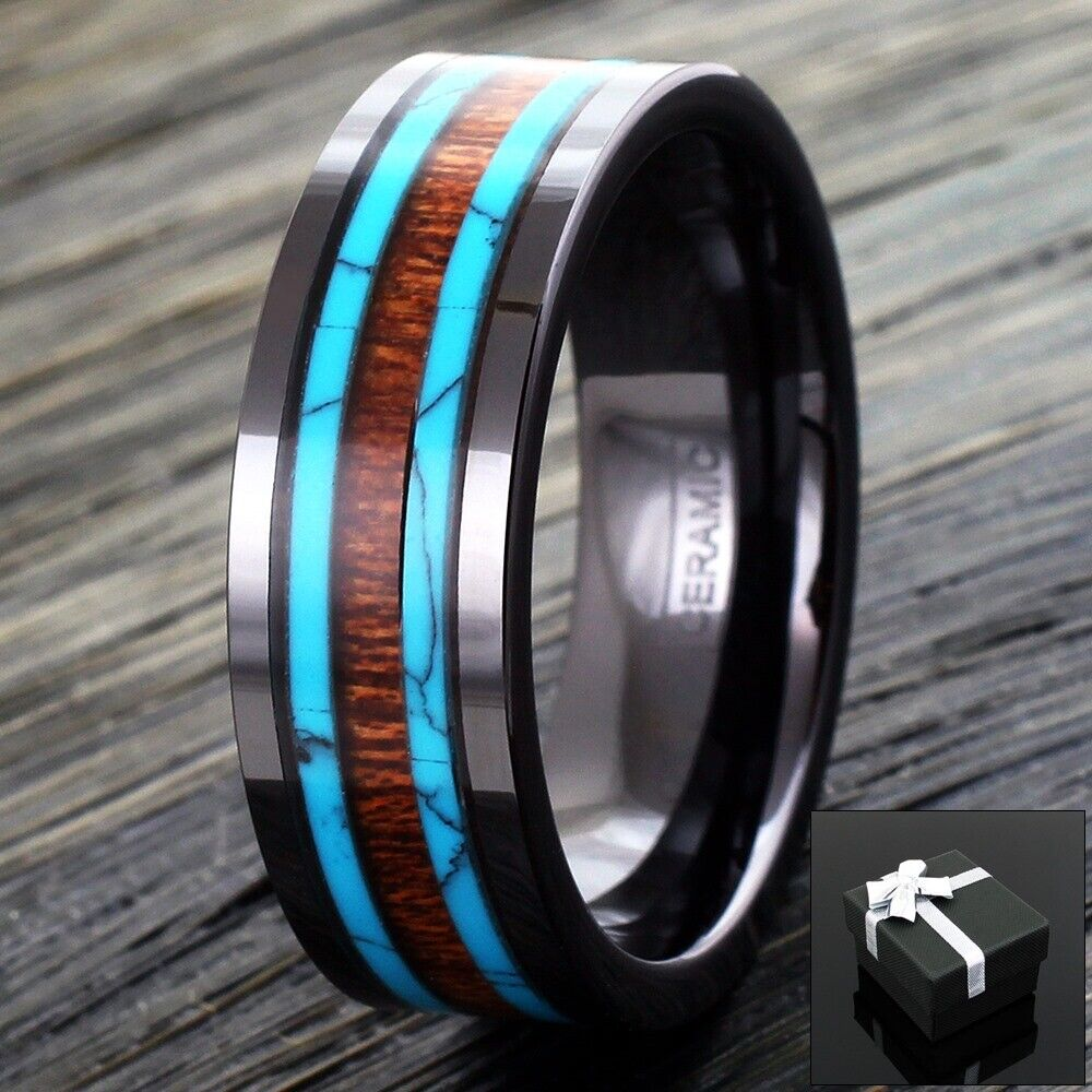 Black Hi Tech Ceramic Men S Hawaiian Koa Wood Amp Turquoise