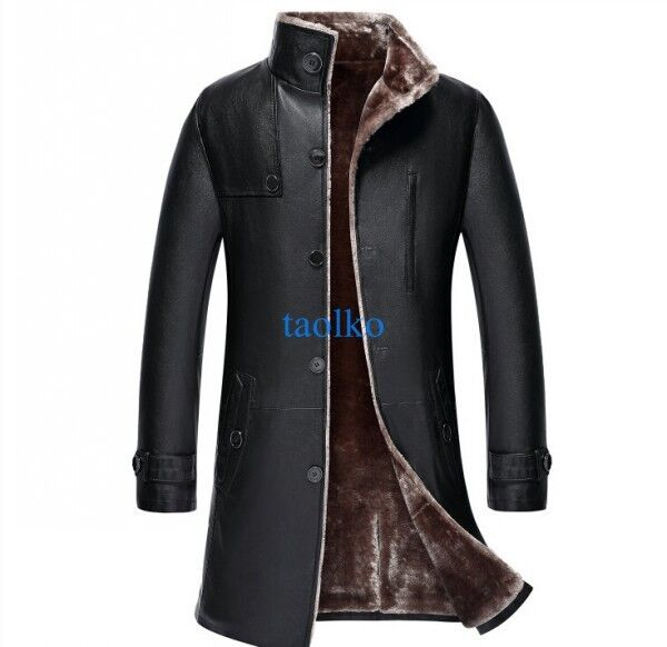 Men's Long Trench Coat Leather Winter Warm Fur Lining ...