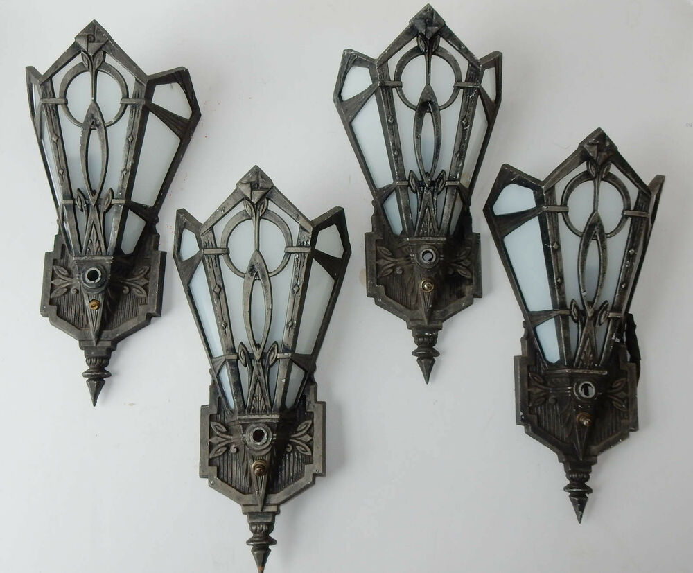 Vintage Glass Wall Sconces : 4 Antique Vintage Art Deco Wall Sconce Light Fixtures Glass Metal 1923 eBay