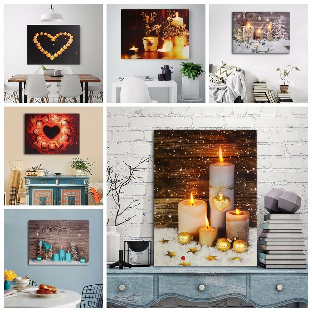 Candle Canvas Painting LED Light Up Pictures Art Home Wall