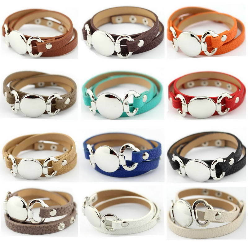fashion monogram blank wrap leather bracelet men women
