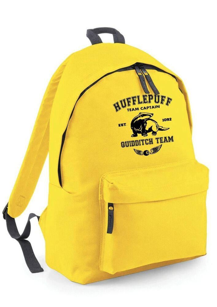 hufflepuff harry potter yellow backpack rucksack school. Black Bedroom Furniture Sets. Home Design Ideas