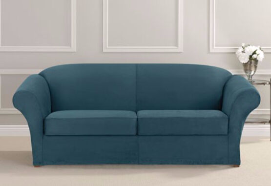 Heavyweight 2 Cushion Stretch Suede Sofa Slipcover Sure Fit Blue Teal Ebay