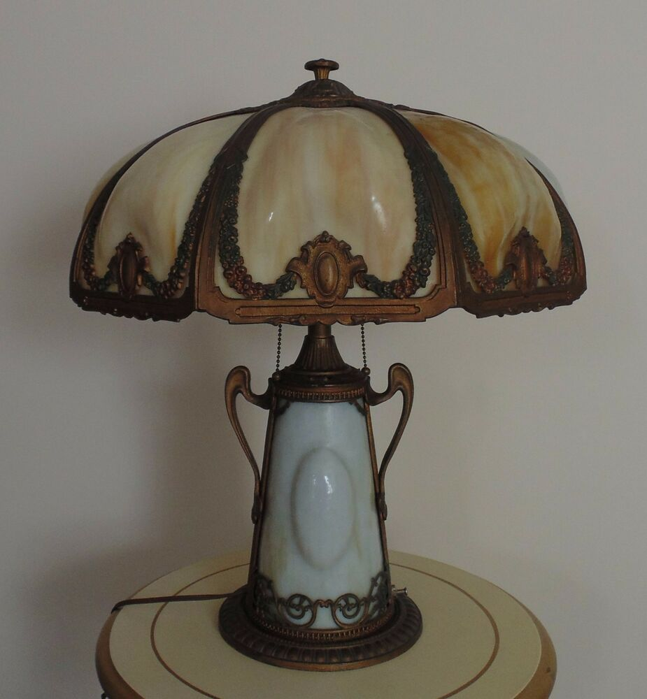 Antique Puffy Bent Slag Glass Table Lamp Victorian Art