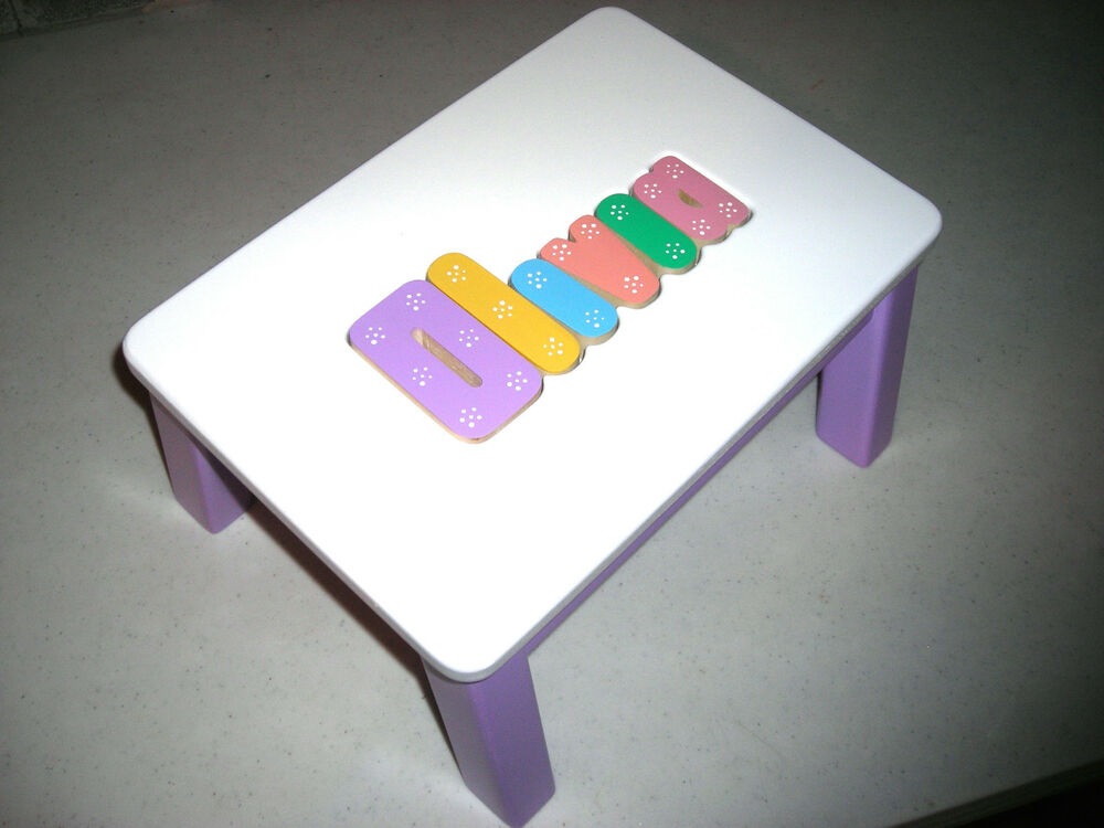 Personalized Wooden Name Puzzle Step Stool Medium Purple