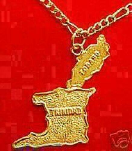and tobago com necklace jewelry br dp pendant map flag steel amazon stainless gold trinidad country