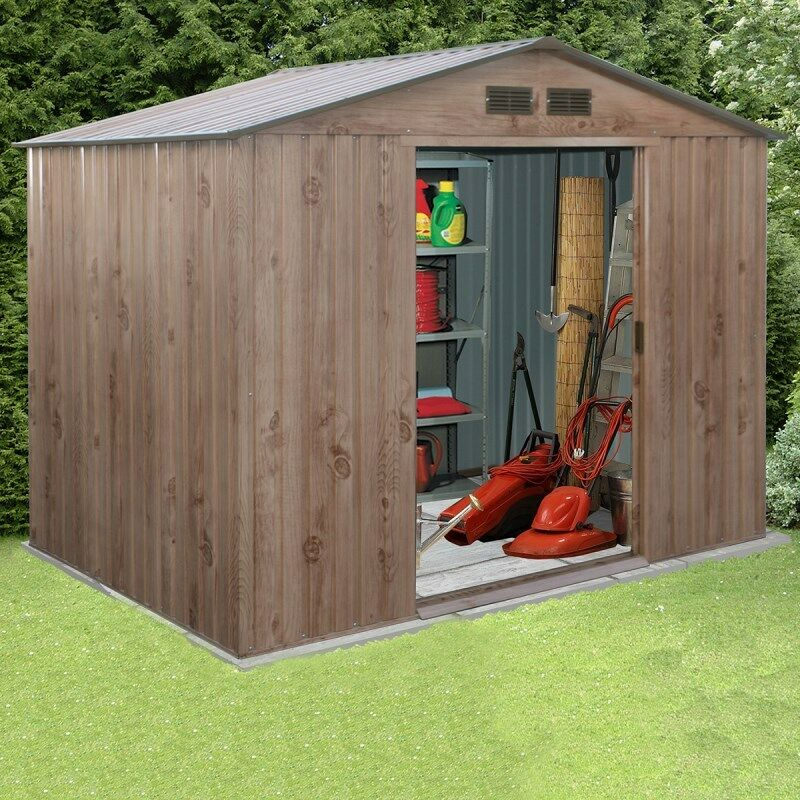 Partner woodgrain metal garden shed apex roof large for Garden shed large
