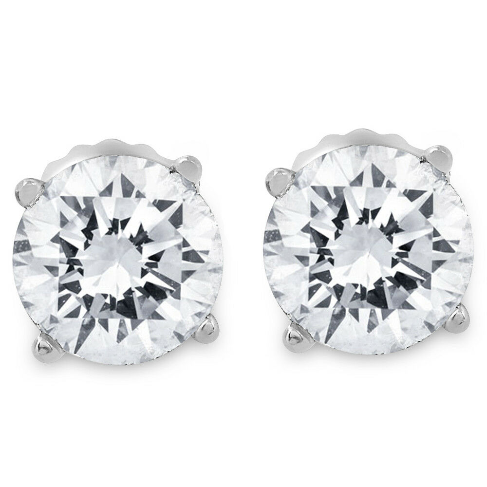 1ct round diamond stud earrings in 14k white gold with. Black Bedroom Furniture Sets. Home Design Ideas