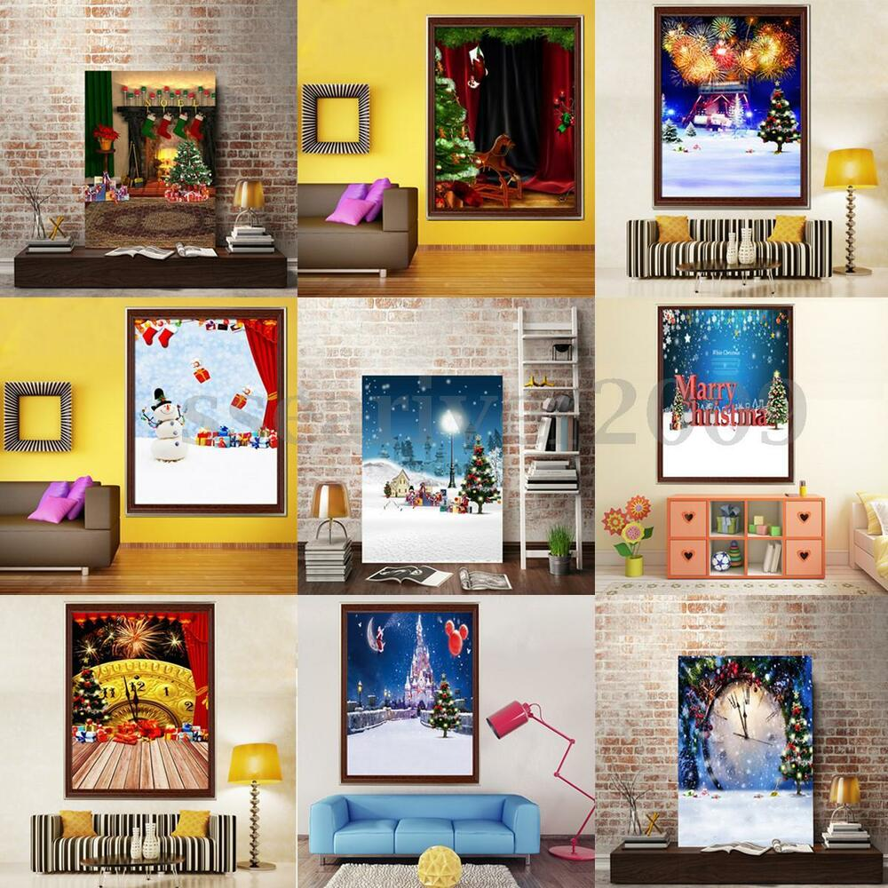 Diy 5d diamond painting winter christmas embroidery cross for Home decorations on ebay