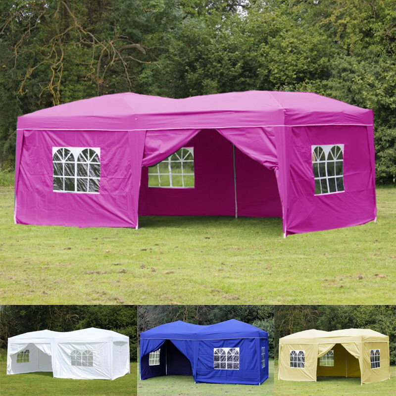 20x10 Ez Pop Up Outdoor Folding Tent Gazebo Wedding Party