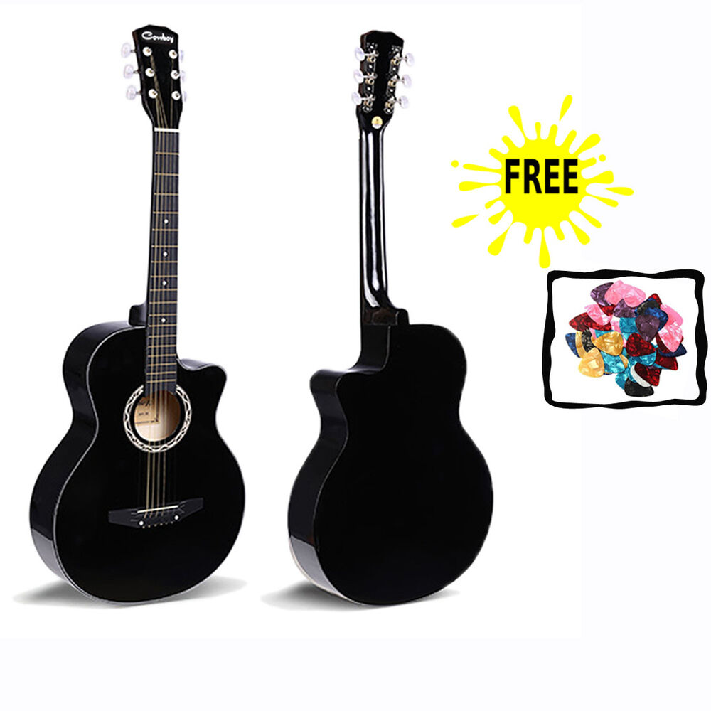 38 black guitar beginners student adults acoustic musical instrument gift new ebay. Black Bedroom Furniture Sets. Home Design Ideas
