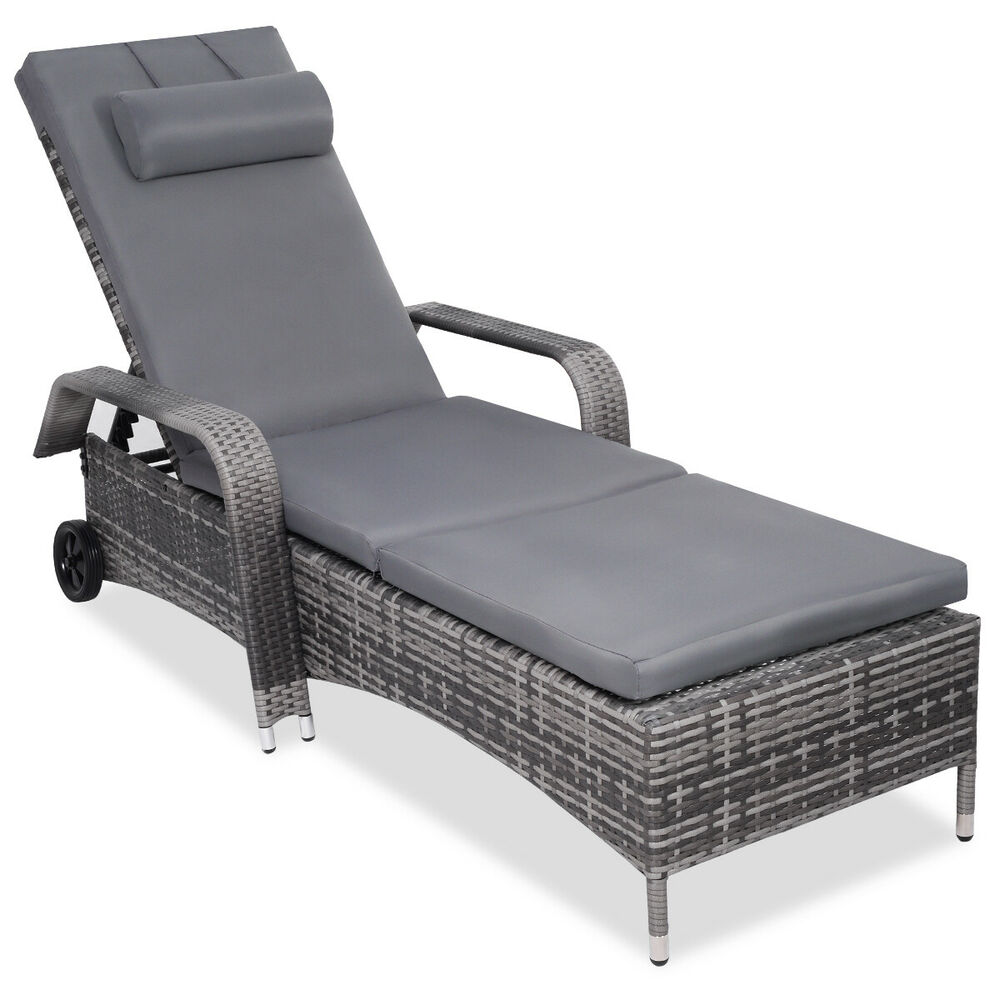 Outdoor Chaise Lounge Chair Recliner Cushioned Patio Furni