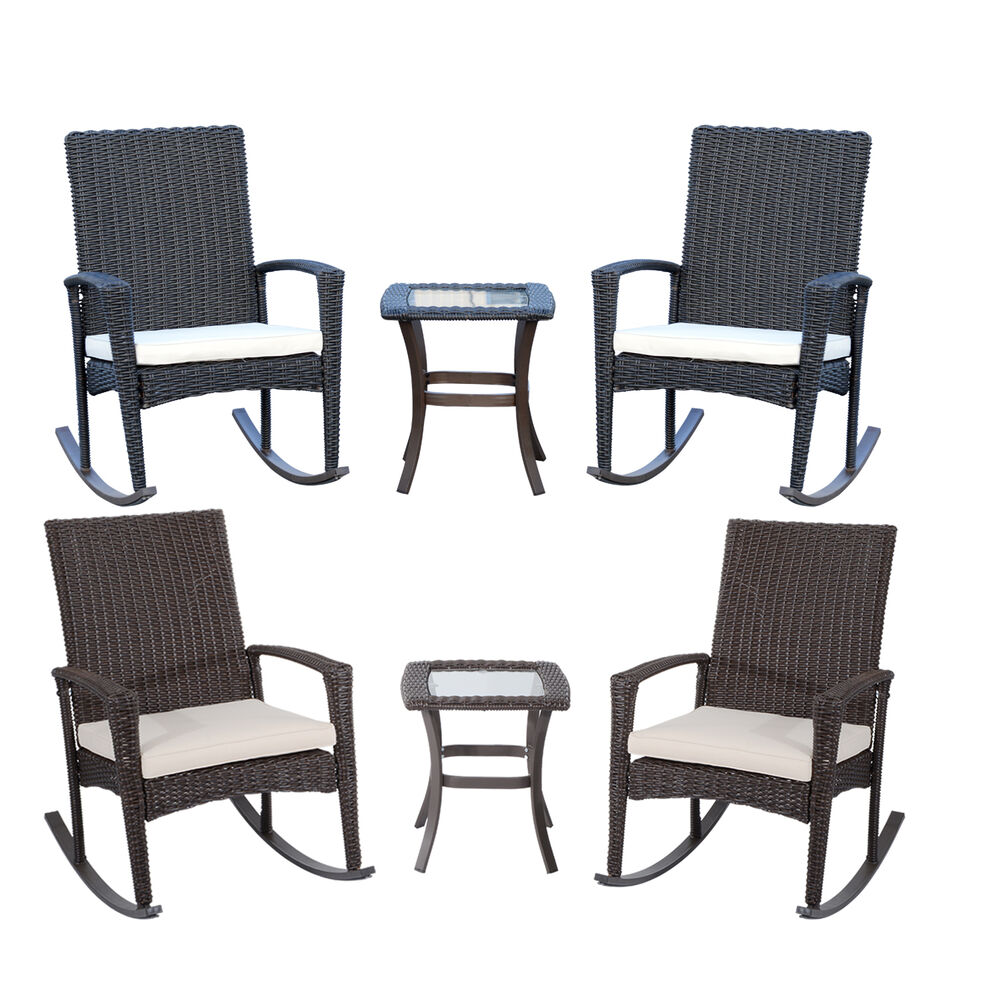3pc classic patio furniture set outdoor rattan rocking chair table deck garden ebay. Black Bedroom Furniture Sets. Home Design Ideas