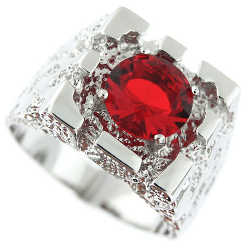 Silver Red Granite : Rampart ruby red stone silver rhodium ep mens nugget ring