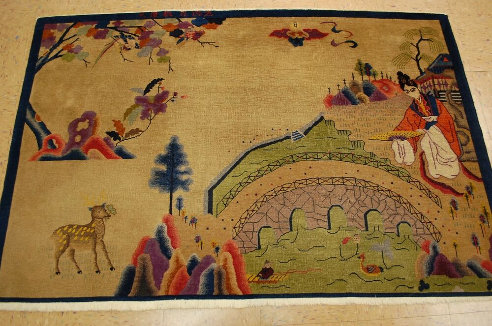 Circa 1910 S Antique Art Deco Signed Chinese Nichols Rug 3