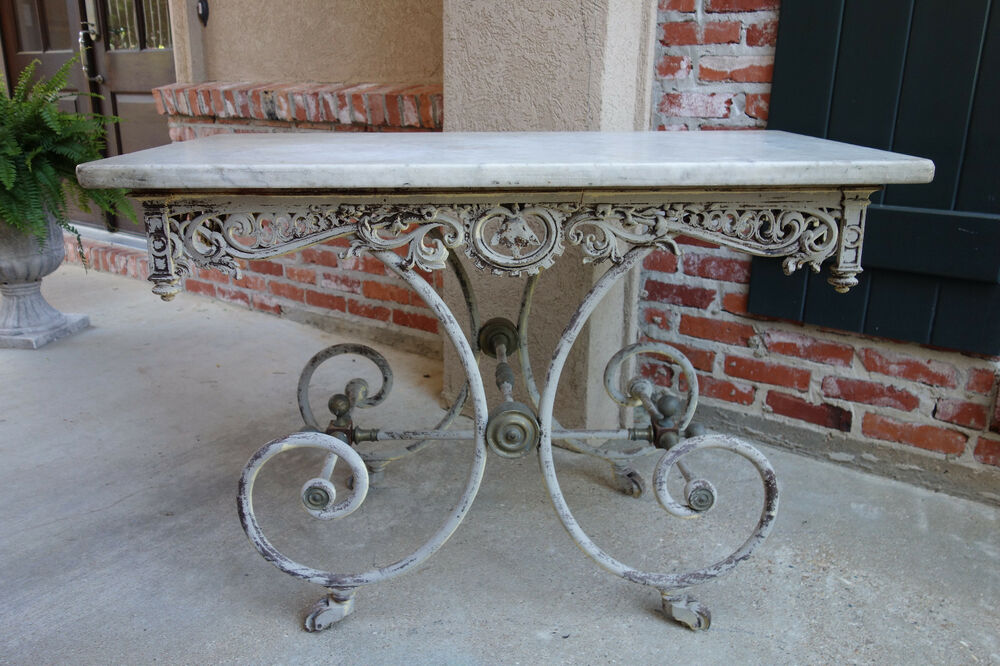Antique French Pastry Bakers Table Scrolled Iron W Marble Top Kitchen Bakery Ebay